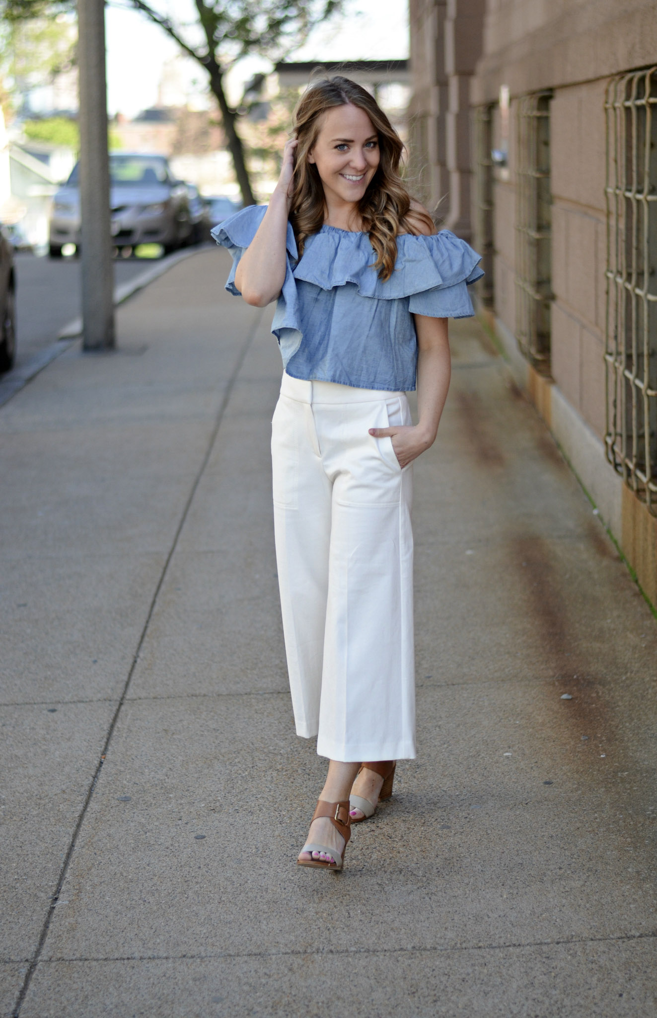 b093a634 Details: Goodnight Macaroon 'Riley' Chambray Off the Shoulder Top, here | Banana  Republic white wide leg pants, similar here and here